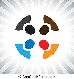 kern, grafisch, eenvoudig, bedrijf, vector, meeting-, team, think-tank