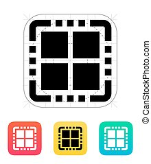 kern, illustration., vektor, quad, icon., cpu