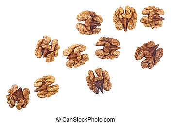 Kernel walnuts isolated on a white background, top view.