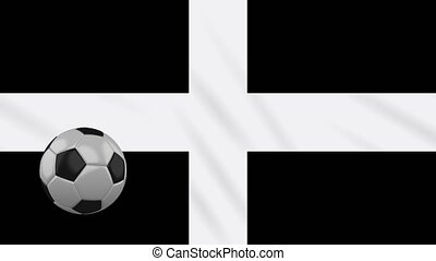 Kernow - Cornwall flag and soccer ball rotates on background...