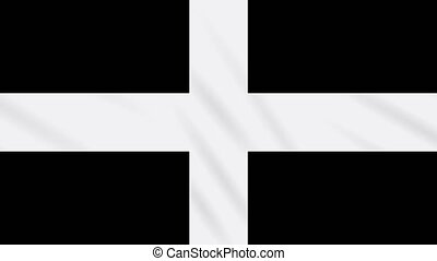 Kernow - Cornwall flag waving cloth, ideal for background, ...
