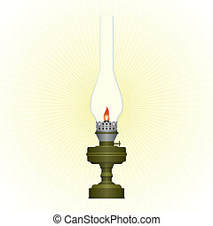 Kerosene lamp - Burning old kerosene lamp. Illustration on...