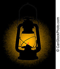 kerosene lamp burning on a black background