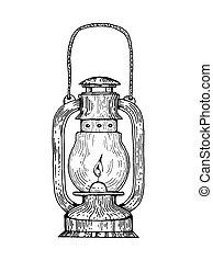 Kerosene lamp engraving style vector - Kerosene lamp...