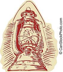 Kerosene Lamp Etching - Etching engraving handmade style...