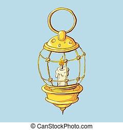 Kerosene lamp icon. Cartoon illustration of kerosene lamp...