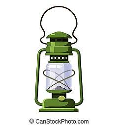 Kerosene lamp icon, cartoon style