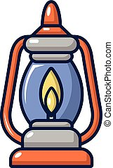 Kerosene lamp icon, cartoon style - Kerosene lamp icon....