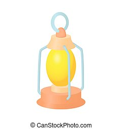 Kerosene lamp icon, cartoon style - Kerosene lamp icon in...