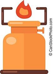 Kerosene lamp icon, flat style - Kerosene lamp icon. Flat...