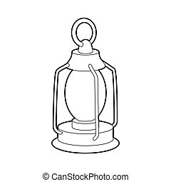 Kerosene lamp icon, outline style - Kerosene lamp icon in...