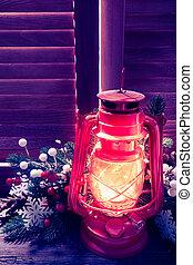 Kerosene lamp in the Christmas night