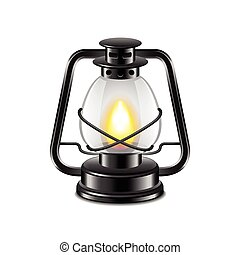 Kerosene lamp isolated on white vector - Kerosene lamp...