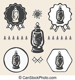 Kerosene lamp lantern vintage symbol emblem label collection...