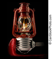 kerosene lamp on a black background