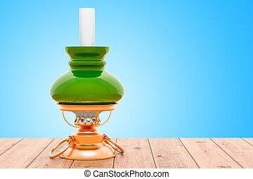 Kerosene lamp on the wooden table. 3D rendering