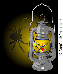 kerosene lamp with a spider