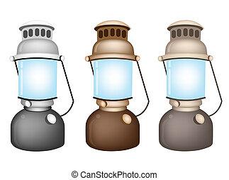 kerosine, set, oud, lamp, illustratie