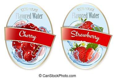 kers, besjes, fruit, set, strawberry., etiketten, flavored, water., vector.