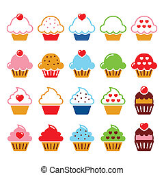 kers, cupcake, hart, iconen