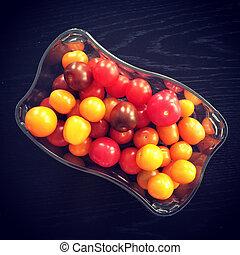 kers, kleurrijke, tomaten