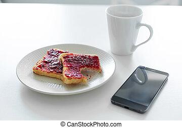 kers, kop, tafel., volgende, roosteren, koffie, ontbijt, telefoon, jam
