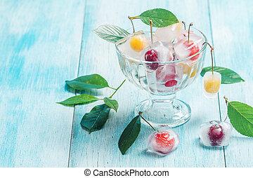 kers, kubus, kom, ijs, glas