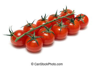 kers tomaten, vrijstaand, op wit