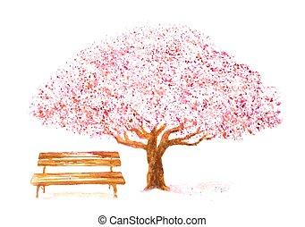 kersenboom, hand, watercolor, getrokken, witte , bankje