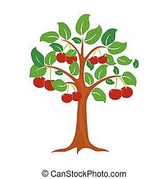 kersenboom, vrijstaand, vector, achtergrond, witte