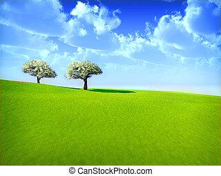 kersrode bomen