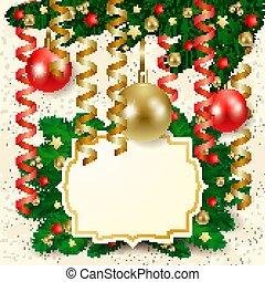kerst baubles, achtergrond, etiket