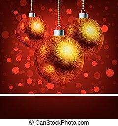 kerst baubles, met, bokeh, achtergrond., eps, 8