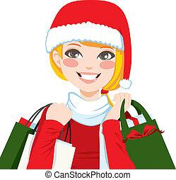 kerst boodschapend doend, blonde