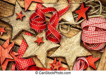Kerstdecoraties Met Rood : Versieringen houten sterretjes linten kerstmis rood. stijl