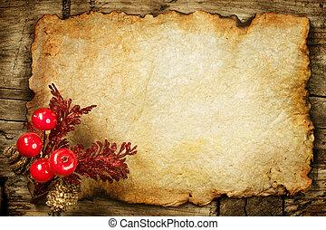 kerst decoraties, op, de, oud, paper., met, copyspace