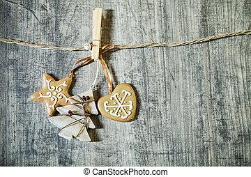 kerst decoraties, op, houten, achtergrond