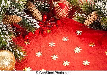kerst decoraties, op, rood