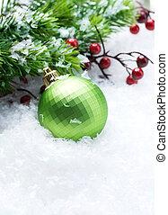 kerst decoraties, op, sneeuw, achtergrond