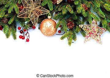kerst decoraties, vrijstaand, op wit, achtergrond