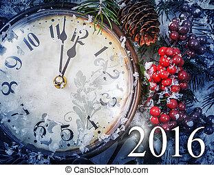 kerstavond, en, nieuwe jaren, op, middernacht