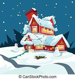 kerstavond, vakantie huis, winter, sneeuw, sneeuwpop, cadeau, begroetende kaart