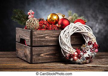 kerstballen, in, een, ?????? ????ß?