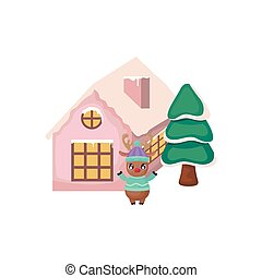 kerstbomen , woning, achtergrond, witte , rendier, schattig