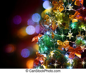 kerstboom, decorated., op, black