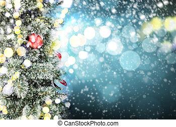kerstboom, en, bokeh, licht, met, de ruimte van het exemplaar