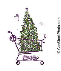 kerstboom, en, kadootjes, in, boodschappenwagentje