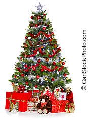 kerstboom, en, kadootjes, vrijstaand, op wit