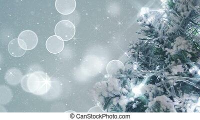 kerstboom, en, schittering, sneeuwval