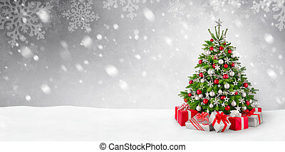kerstboom, en, sneeuw, achtergrond
